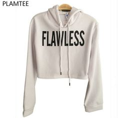 07079dfc25a Womens Long Sleeve Drawstring Flawless Printed Loose Crop Pullover Hoodie  Sweatshirt    Visit the image link more details. (This is an affiliate link)