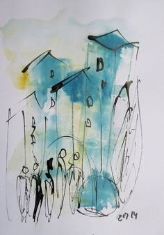 blaue Stadt Zeichnung DinA4 blau-gelb freier von Kunstmuellerei