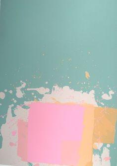 Pink Block on Green (New York Suite) | 1971 by John Hoyland (1934-2011) - Screenprint