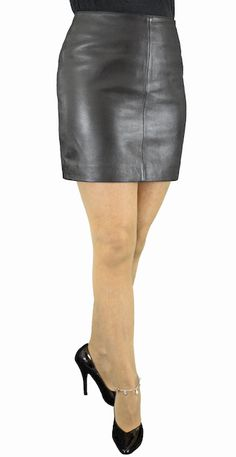 74568f84134e Black Soft Lambskin Leather Fitted Mini Skirt (15in length). A classic