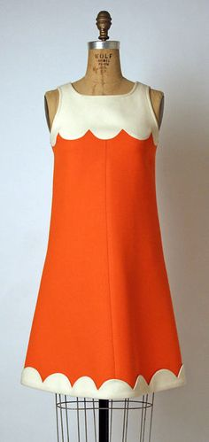 Orange n Cream Scalloped Shift Dress  André Courrèges, 1968