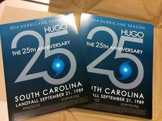 SCEMD created the official poster for Hurricane Hugo's 25th Anniversary as a way to promote disaster preparedness and encourage people to share their Hugo stories via @SCEMD social media feeds. With a limited printing of just 300 copies, these #HUGO25 posters have become a highly sought after memento of what South Carolina survived in 1989.  More info: tinyurl.com/HUGO25