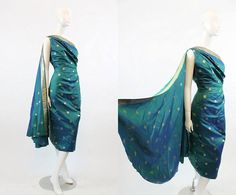 50s Dress Indian Sari Silk Medium / 1950s Vintage One Shoulder / Nights in Mumbai Dress