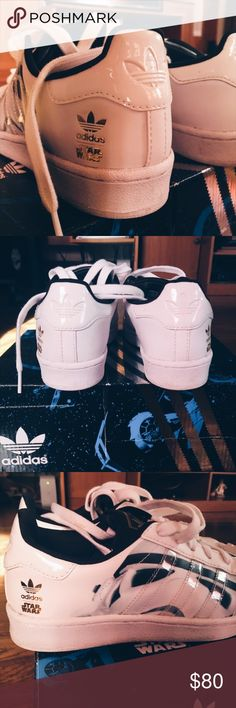 """Star Wars x Adidas Superstar Rare Star Wars x Adidas Superstar Youth 3.5 fits like women's 5.5 gloss shell toe, back trefoil logo, transparent stripes, storm trooper on outer sides, lace jewels that read """"Star"""" """"Wars"""" in like new condition in special original box. adidas Shoes Sneakers"""