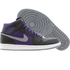 Air Jordan 1 Phat (black / stealth / critical purple / white) 364770-018 - $104.99