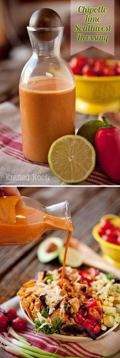 Chipotle Lime Southwest Dressing - Krafted Koch - A spicy dressing made with chipotle peppers in adobe sauce, fresh lime juice, southwest spices and a bit of creaminess from Greek yogurt.