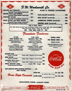 The Woolworth fountain menu