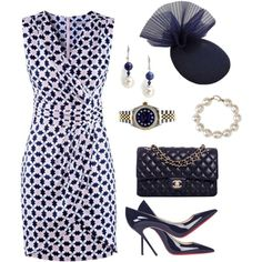 Marine by lellelelle on Polyvore featuring moda, Christian Louboutin, Chanel, Rolex, Majorica and Anne-Sophie Coulot