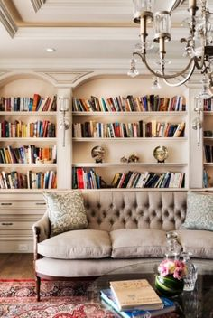 Traditional, Hampton-style home #library