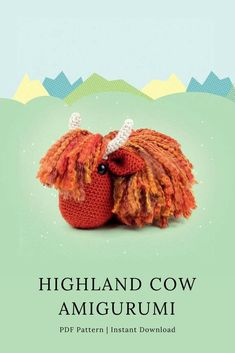 The cutest and cuddliest highland cow (*heilan coo*) to crochet and snuggle. Easy to follow pdf digital downloadable pattern #Etsy #TLad