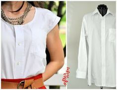 You can even add some lace or dainty embroidery to fully reclaim the shirt as a ladies' garment.