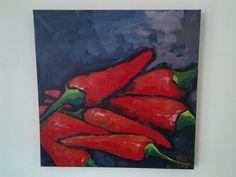 Rode pepers,geschilderd door m.schaap.