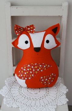 Felt fox toy in bright orange with flowers, vintage style, plush, stuffed animal toy. $52.00, via Etsy.