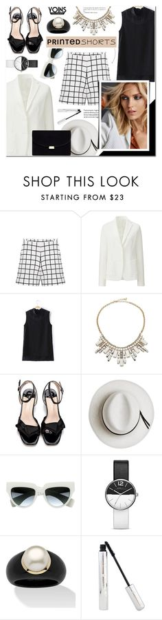 """""""Grid Print Shorts+White Jacket+Block Heel Sandals-Yoins 16"""" by anyasdesigns ❤ liked on Polyvore featuring Uniqlo, ABS by Allen Schwartz, Calypso Private Label, Anja, Prada, Marc Jacobs and Palm Beach Jewelry"""