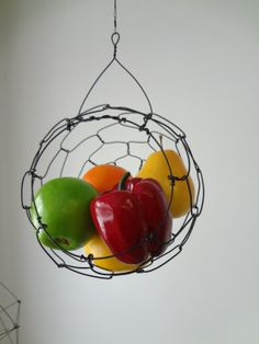 Hanging Wire  Basket by CharestStudios on Etsy, $36.00