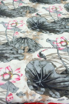Pink Water Lily Floral Cotton Linen Fabric Chinese by fabricmade