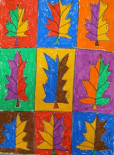 Warhol-inspired art with oil pastels; did this with candy corn. Colorful, vibrant, and fun!
