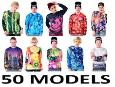 Fashion4Nation: Womans Girls Mens Boys Long Sleeve OverSized Print...