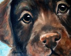 Labrador Painting - Hershey by Mary Sparrow