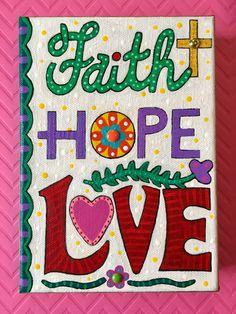 Mixed media painting by Angela Sharkey. 1 Corinthians 13:13