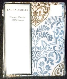 Shower Curtain Laura Ashley White Blue Brown Print 100% Cotton Fabric  Floral New