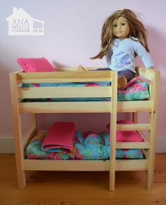 Make your own doll bed for American Girl Doll or other Doll. This sturdy wood doll bed is quick and easy and inexpensive to make. Free step by step plans to DIY a doll bed for your American Girl. Ropa American Girl, American Girl Furniture, American Girl Doll Bed, Girls Furniture, American Girl Crafts, Doll Furniture, Furniture Plans, Furniture Projects, Diy Projects