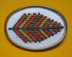 Cross-Stitch Leaf Pin