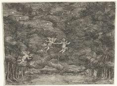 Jan van Ossenbeeck | Toneeldecor met engelen aan de nachtelijke hemel, Jan van Ossenbeeck, 1663 - 1674 |