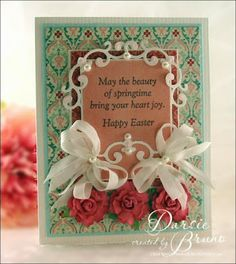 Easter card using a sentiment from Repeat Impressions and Spellbinders Holly Motifs dies