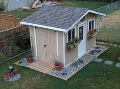 Ideas Garden Shed Landscaping Tools Backyard Storage, Backyard Sheds, Garden Sheds, Shed Exterior Ideas, Bungalow, Prefabricated Sheds, Shed Landscaping, Shed Decor, Craft Shed