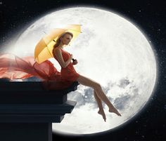 Woman with umbrella over full moon background Good Night Gif, Good Night Moon, Moonlight Sonata, Gifs, Everlasting Love, Illustrations, Finding Peace, Our World, Photos