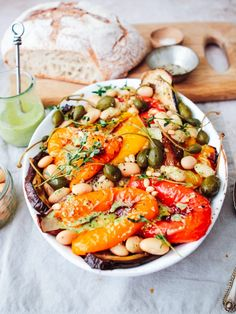 Chunky Roast Pepper, Aubergine, Butter bean, Caper and Pesto Salad - Rebel Recipes