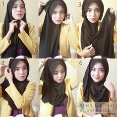 Simple Hijab Tutorial With Folds – Hijab Fashion Inspiration – Hijab Fashion 2020 Tutorial Hijab Pesta, Simple Hijab Tutorial, Hijab Style Tutorial, Scarf Tutorial, Muslim Hijab, Muslim Dress, Hijab Dress, Hijab Outfit, How To Wear Hijab