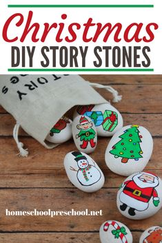 These DIY Christmas Story Stones are easy to make and a fabulous resources to have on hand when story telling with young kids. #storystones #christmasstorystones #diystorystones #homeschoolprek Preschool Arts And Crafts, Preschool Books, Preschool Printables, Preschool Lessons, Fun Crafts, Activities For Kids, Christmas Books, A Christmas Story, Christmas Tree Ornaments
