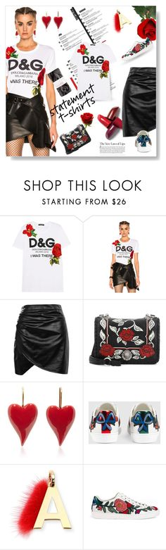 """""""Say What: Statement T-Shirts"""" by lacas ❤ liked on Polyvore featuring Dolce&Gabbana, Boohoo, Miu Miu, Gucci, Fendi and statementtshirt"""