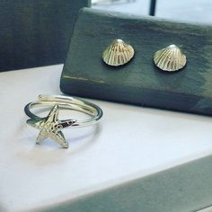 Anillo estrella de mar, pendientes concha, plata 925. Starfinsh ring, shell earrings, sterling silver