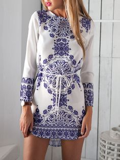Blue Long Sleeve With Belt Vintage Print Dress -SheIn(Sheinside)