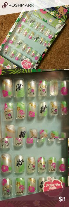 Hello Kitty Hawaiian theme press-on nails NWT, Never opened! HK jeweled, glitter, hibiscus flower theme.  24 Nails ready for application!!   Super cute!!! Sanrio Other