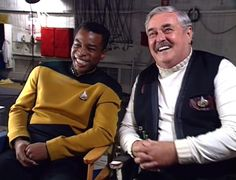 LeVar Burton and James Doohan share a laugh between takes of the 1992 episode Relics.