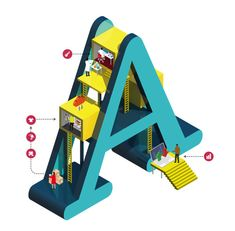 A - Isometric Letter illustrations by Jing Zhang for Sprint's business-to-business wholesale group.