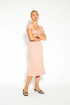 Cosette Midi Dress Floral – Lulu & Rose Floral Midi Dress, Rose Dress, Ruffle Top, Lace Skirt, Label, Women Wear, Feminine, Shop, How To Wear