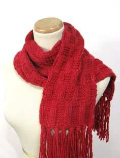 Red Hand Knit Scarf Malabriego Scarf by ArlenesBoutique on Etsy, $65.00