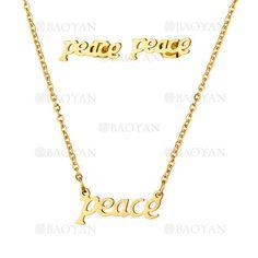"""juego de collar y aretes de """"peace"""" de dorado en acero-SSNEG813304"""