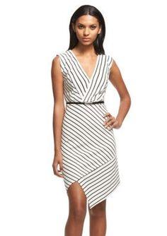 Robert Rodriguez  Serina Stripe Asymmetrical Dress