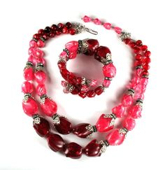 Hobe Pink and Glitter Red Bead Necklace and Bracelet  - available from Anna's Vintage Jewelry on Ruby Lane.