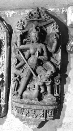 Durga Mahisasuramardini, Pala, Black stone, 42 in. H., Dhaka Museum, Dhaka, Bangladesh