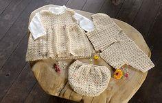 Part of a set of free patterns  Ravelry: Marshmallow Baby Set (dress) pattern by Pierrot (Gosyo Co., Ltd)