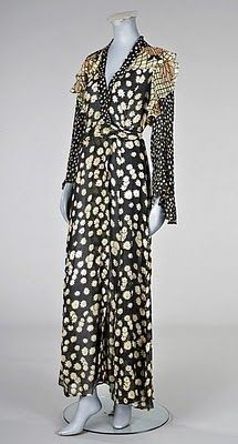 Dress by Ossie Clark, 1970.  Ossie Clark often mixed several Celia Birtwell prints in one garment. This dress uses three.