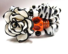 Sugar Day Of The Dead Wrap Black White Rose by sweetie2sweetie, $24.99