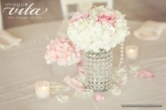Feminine Centerpiece Design of Pink and White Hydrangea and Roses in Crystal-Rhinestone Vase